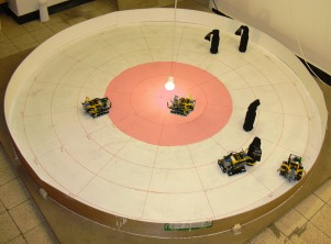 setup of 	   the experiments with real robots